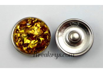 Bouton pression resine dôme or