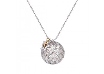 Collier maille bille et son pendentif boule Fleur de Vie Creux charm's Etoiles
