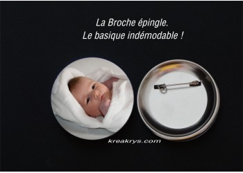 Badge 58mm Broche Epingle à personnaliser