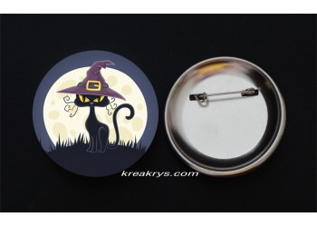 Badge Broche épingle Halloween chat sorcière
