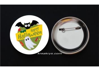 Badge Broche épingle Halloween fantôme et chauve-souris