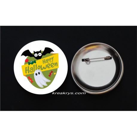 Badge Broche Epingle Halloween fantôme et chauve-souris