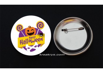 Badge Broche Epingle Halloween citrouille et bonbons