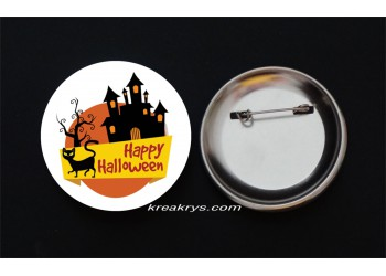 Badge Broche épingle Halloween château et chat