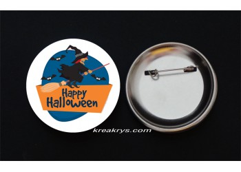 Badge Broche Epingle Halloween Sorcière
