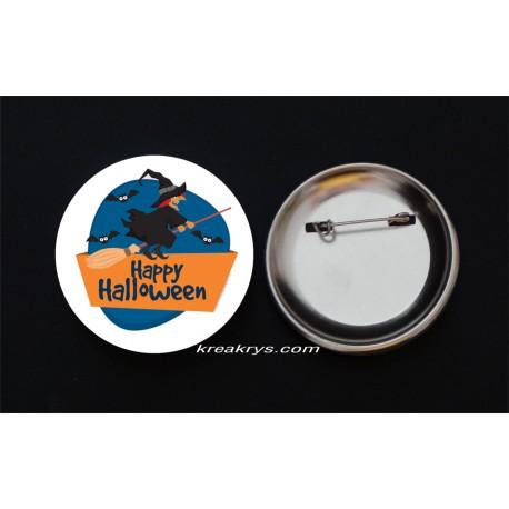 Badge Broche Epingle Halloween Sorcière