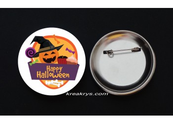Badge Broche épingle Halloween citrouille sorcière