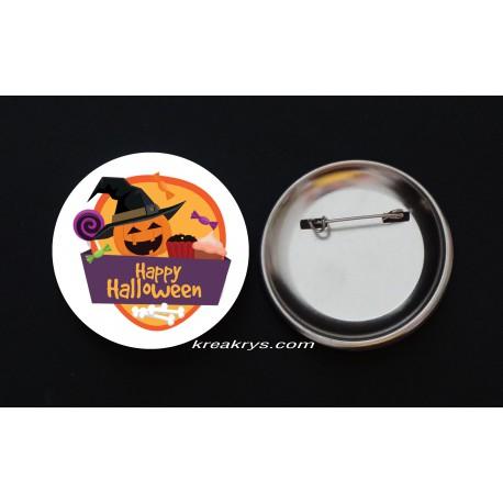Badge Broche Epingle Halloween citrouille sorcière