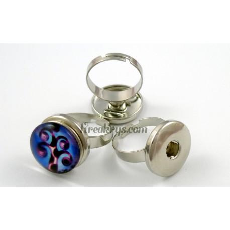 Bague pression ajustable Standard ronde, couleur argent