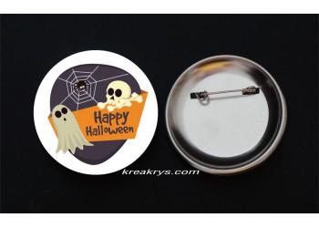Badge Broche épingle Halloween fantôme et araignée