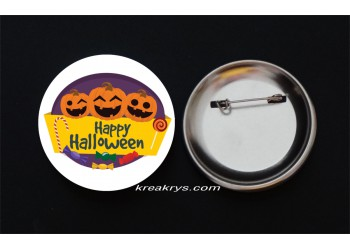 Badge Broche Epingle Halloween trois citrouilles