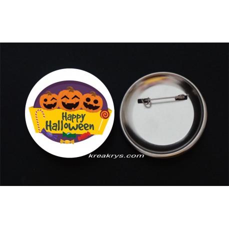 Badge Broche Epingle Halloween trois citrouilles