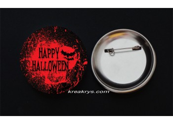 Badge Broche Epingle Halloween happy halloween rouge