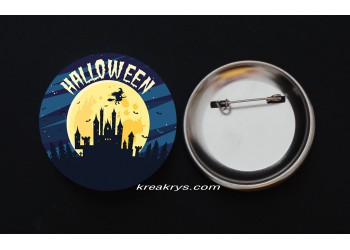 Badge Broche épingle Halloween maison sorcière