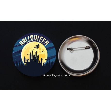 Badge Broche Epingle Halloween maison sorcière