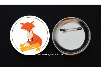 Badge Broche épingle Automne I love fox
