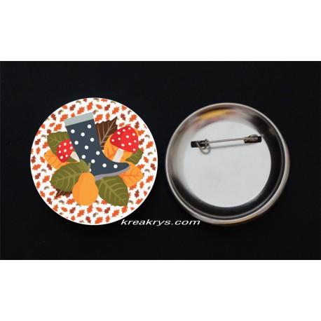 Badge Broche Epingle Automne Botte et Champignons