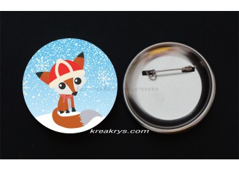 Badge Broche Epingle Noël, le renard