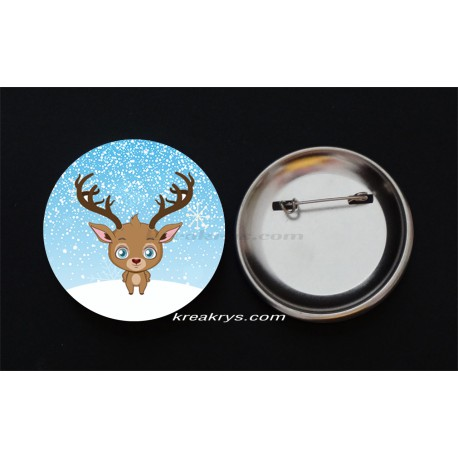 Badge Broche Epingle Noël, le renne
