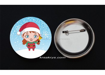 Badge Broche Epingle Noël, lutine