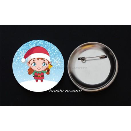 Badge Broche Epingle Noël, lutine