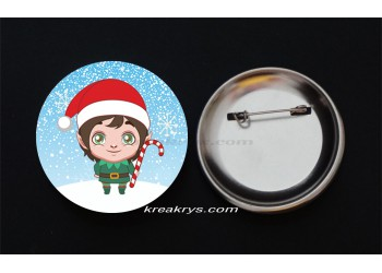 Badge Broche épingle collection Noël, lutin