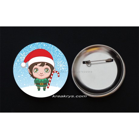 Badge Broche Epingle Noël, lutin