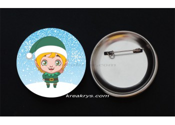Badge Broche Epingle Noël, lutin blond