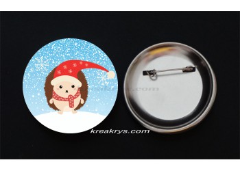 Badge Broche Epingle Noël, hérisson