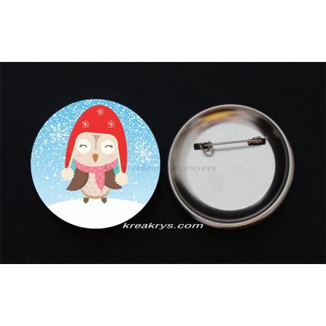 Badge Broche Epingle Noël, chouette