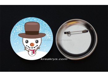 Badge Broche Epingle Noël, bonhomme de neige