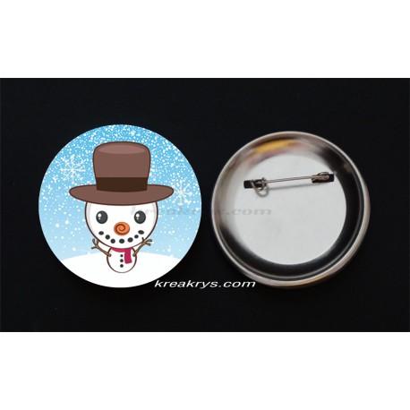 Badge Broche Epingle Noël, bonhomme de neige