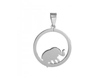 Pendentif cercle et éléphant en acier inoxydable
