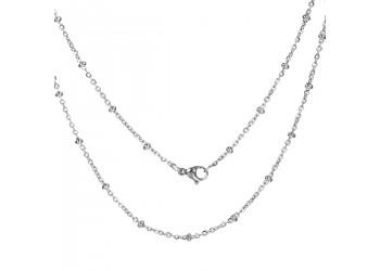 Chaîne Acier inoxydable maille forçat et perles 50cm