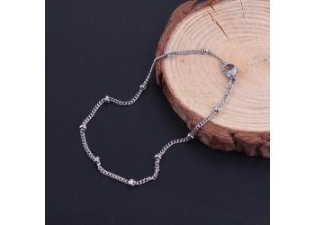 Bracelet chaîne cheval et perles en acier inoxydable