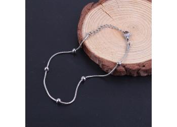 Bracelet maille serpent et perles en acier inoxydable