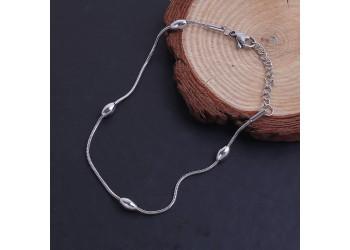 Bracelet maille serpent et perles ovale en acier inoxydable
