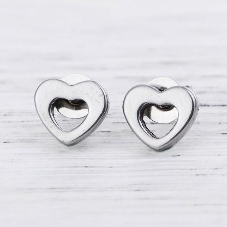 Boucles d'oreilles acier inoxydable coeur