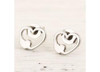 Boucles d'oreilles acier inoxydable double coeur