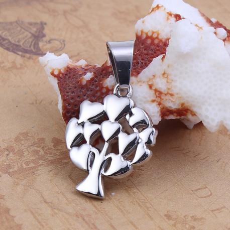 Pendentif acier inoxydable arbre coeur