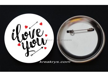 Badge Broche épingle collection Saint Valentin : i love you