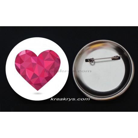 Badge Broche épingle collection Saint Valentin : coeur rose