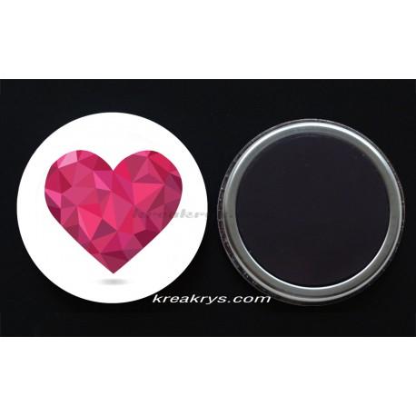 Badge Magnet collection Saint valentin : coeur rose