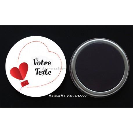 Badge Magnet collection Saint valentin : coeur texte à personnaliser