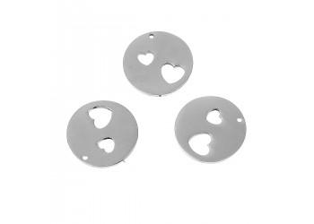 Breloque ronde en acier inoxydable avec deux coeurs