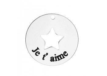 Breloque ronde en acier inoxydable avec une étoile et une gravure Je t'aime