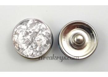 Bouton pression résine dôme argenté