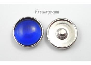 Bouton pression verre dit oeil de chat bleu foncé