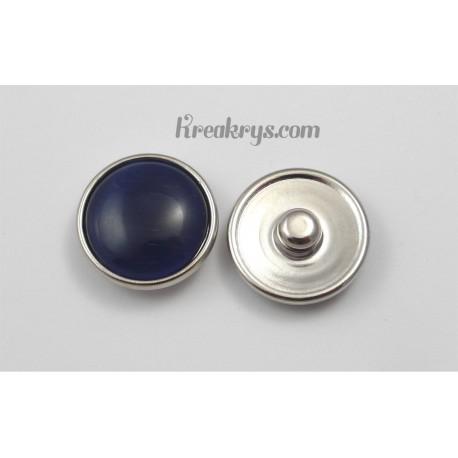 Bouton pression verre dit oeil de chat bleu marine